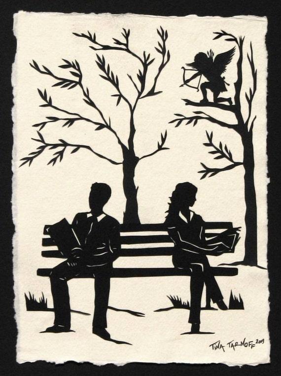 Sale 20% Off // Hand-Cut Papercut Art - DIVINE INTERVENTION Silhouette // Coupon Code SALE20