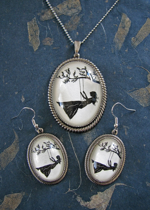 Sale 20% Off // GIRL on a SWING Earring-Necklace Set - Silhouette Jewelry // Coupon Code SALE20