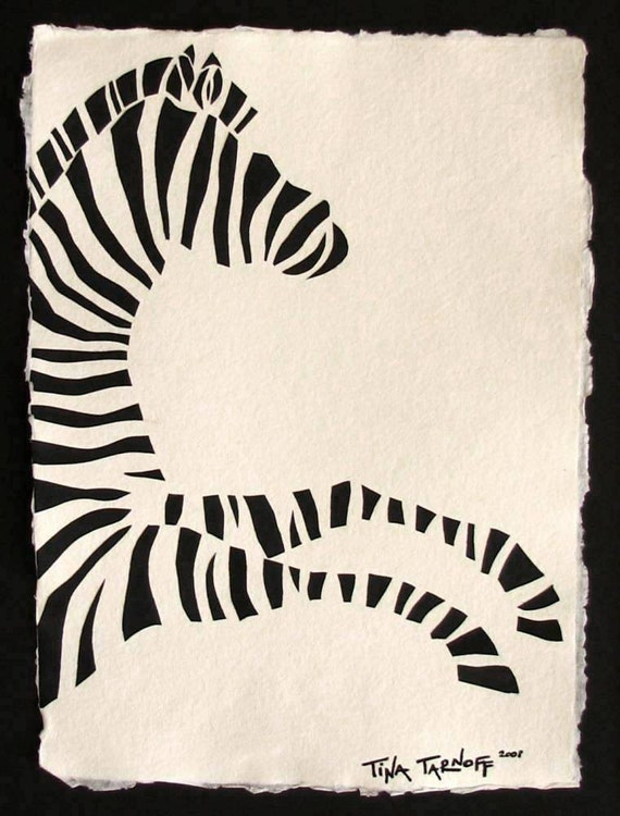 Sale 20% Off // ZEBRA Papercut - Hand-Cut Silhouette // Coupon Code SALE20
