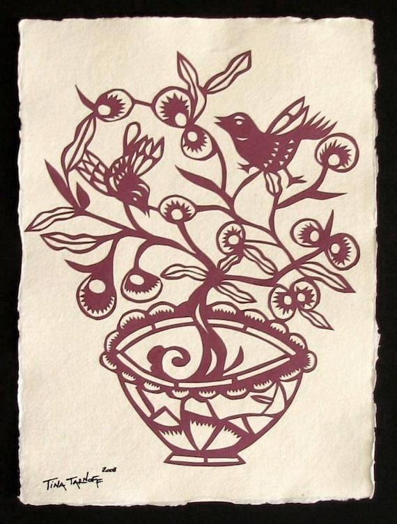 Sale 20% Off // FLOWER POT Papercut - Hand-Cut Silhouette // Coupon Code SALE20