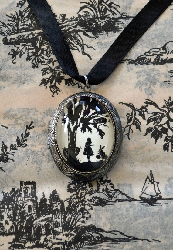 Sale 20% Off // ALICE IN WONDERLAND Locket Necklace - locket pendant on ribbon - Silhouette Jewelry // Coupon Code SALE20