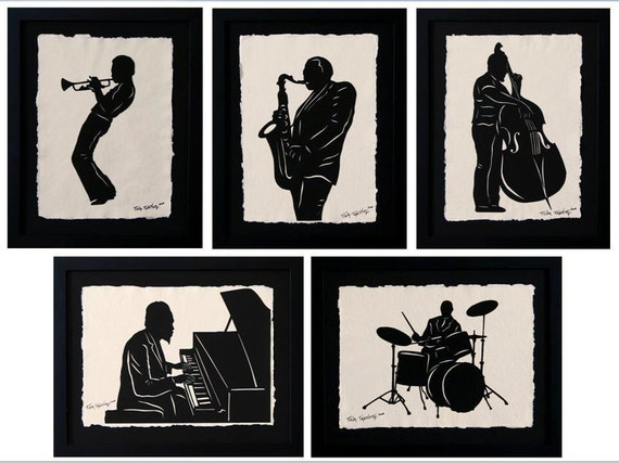 Sale 20% Off // JAZZ GIANTS Papercuts - 5 Hand-Cut Silhouettes, Individually Framed // Coupon Code SALE20