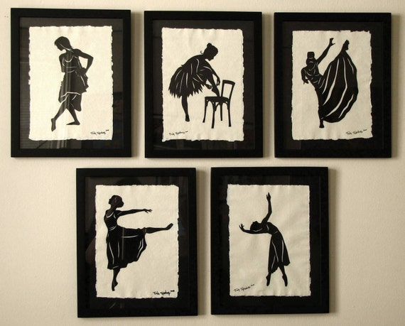 Sale 20% Off // BALLET DANCERS Papercuts, 5 Hand-Cut Silhouettes, Individually Framed // Coupon Code SALE20
