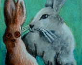 original art drawing aceo easter bunny vs chocolate bunny, look who's scared