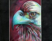 original art drawing eagle abstract matted to 8x10