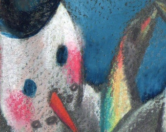 original art drawing aceo snowman penguins