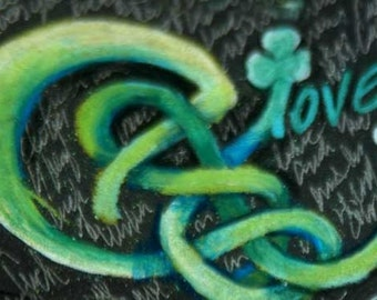 original art  aceo drawing, celtic knot C is for clover