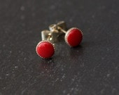 Red Handcrafted Polymer Clay Bead Silver Plated Stud Earrings.