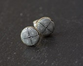 Black and White Handcrafted Polymer Clay Bead Silver Plated Stud Earring