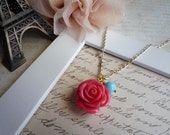 Micheline.. coral french rose necklace
