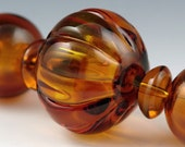 Andie's Glass - Dark Amber Melon Hollow Bead - Focal Bead
