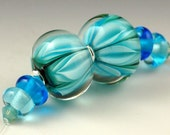 Andie's Glass - Bloom Series - Double Leaf Encased - Twin Earring Set Turquoise