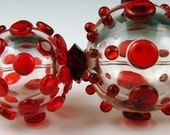 Andie's Glass - Clear Focal with Transparent Red Dots with 2 Earring Beads