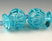 Andie's Glass - Hollow Transparent Turquoise Earring Beads with Scroll Design