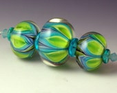 Andies Glass - Bloom Series Beads - Set of 3 Greens and Blues