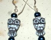 Night Owl Resin and Pearl Earrings