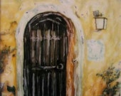 Polaroid Painting - Door in Portugal -  Signed Fine Art Photograph ( 5x5 inch image)
