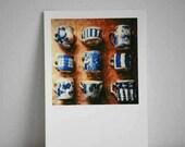 Fine Art Polaroid Print - Blue and White Cups