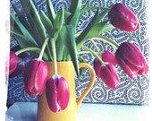 Fine Art Photograph - Red Tulips in Yellow Vase - 5 inch size