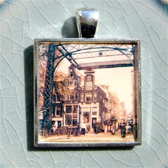 Amsterdam Pendant - Amsterdam photo pendant - Amsterdam Polaroid Pendant