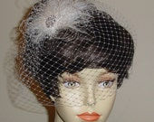 Ivory Birdcage Veil with Ivory and Vanilla Ostrich Feather Fascinator Made to Order