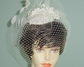 SAMPLE SALE Wedding Cocktail Hat with Venice Lace and Birdcage Veil