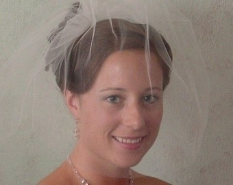 Double Blusher Wedding  Veil on Comb 10 colors available