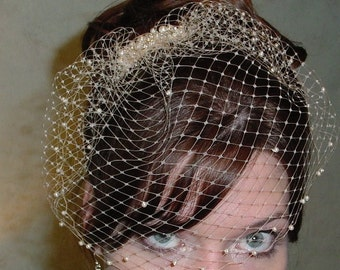 Small Birdcage Blusher Wedding Veil with Pearls on a Pearl and Crystal Comb Made to Order