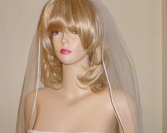 One Tier Cord Edge Wedding Veil on Comb Simple Bridal Veil  Made to Order