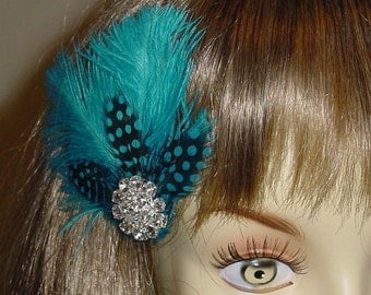 Closeout - Turquoise Ostrich Feather Wedding Fascinator - Ready to Ship