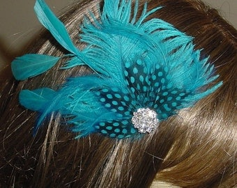 Turquoise Ostrich Feather Wedding Fascinator - Ready to Ship