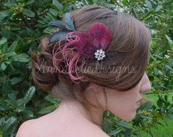 Wedding Feather Fascinator Headpiece Made to Order  Bridesmaid Burgundy and Black