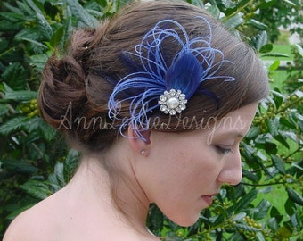 Wedding Feather Fascinator in Shades of Blue  Headpiece Ready to ship