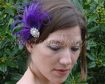 Shades of Purple Feather Fascinator Headpiece Made to Order  Bridesmaid