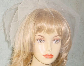 Rhinestone Double Blusher Wedding Veil  Made to Order 12 Colors Available