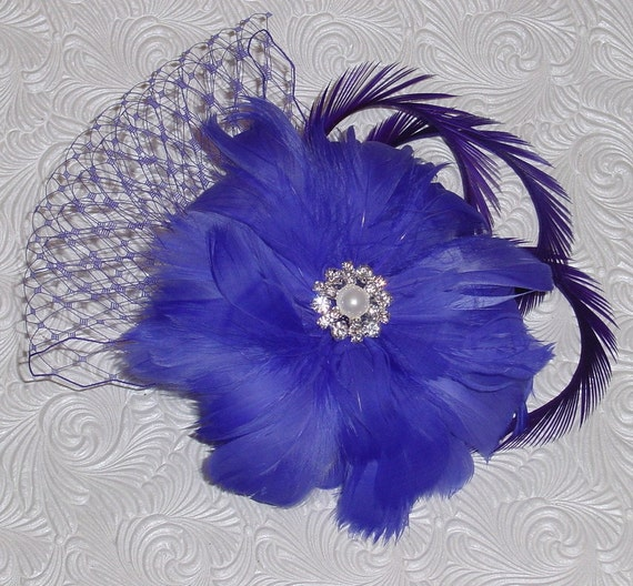 CLEARANCE SALE Feather Flower French Veiling Wedding Fascinator -  Purple