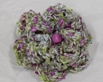 Green Crochet Flower Brooch - Sage Green Crochet Flower Pin
