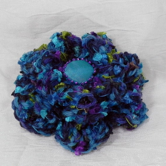 Crochet Flower Brooch - Turquoise, Purple and Olive Green
