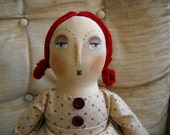Reserved for Anne-Marie -- Primitive Folk Art Annie Original Colonial Doll Antiqued Country Shabby Decor with star bag