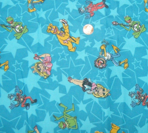 Fabric by the yard muppets flannel fabric miss piggy monster for Baby monster fabric