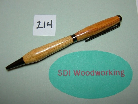 Handcrafted Canary wood Slimline Twist Pen with Black Titanium colored accents No 214