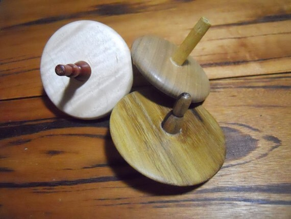 Three Handcrafted Wooden Toy Spinning Top Set T
