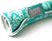 Baby Changing Pad with Minky and Echino Damask Japanese Fabric in Teal Made To Order