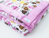 Owl Blanket - Minky Baby Blanket - Owl Minky Blanket with Owls in Purple and Brown - Made to Order