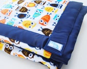 Owl Blanket - Minky Blanket in Brown and Blue - by claireandjanae - Made to Order