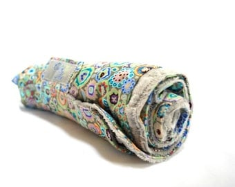 Roll Up Baby Changing Pad Mat With Kaffe Fassett Paperweight Fabric in Grey - Made To Order