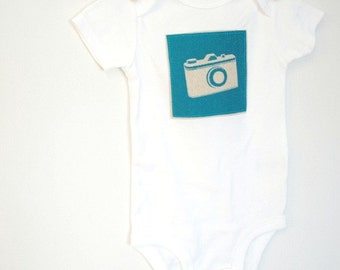 Baby Bodysuit - 12 month onesie with Camera in Blue Echino Fabric
