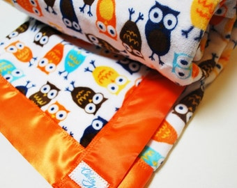 Owl Blanket with Robert Kaufmann night owls fabric in orange brown and blue - Bright and Fun