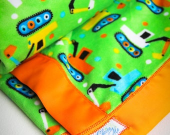 Minky Baby Blanket -  Excavator Truck Cuddle Blanket with Satin Binding - Made to Order