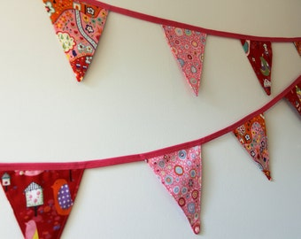 Valentine's Day Fabric Bunting.  Party or Room Decor with Pink and Red Flags